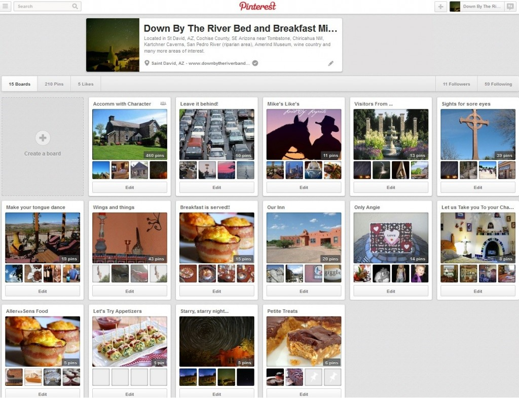 Our San Pedro River B and B Pinterest Screen Capture