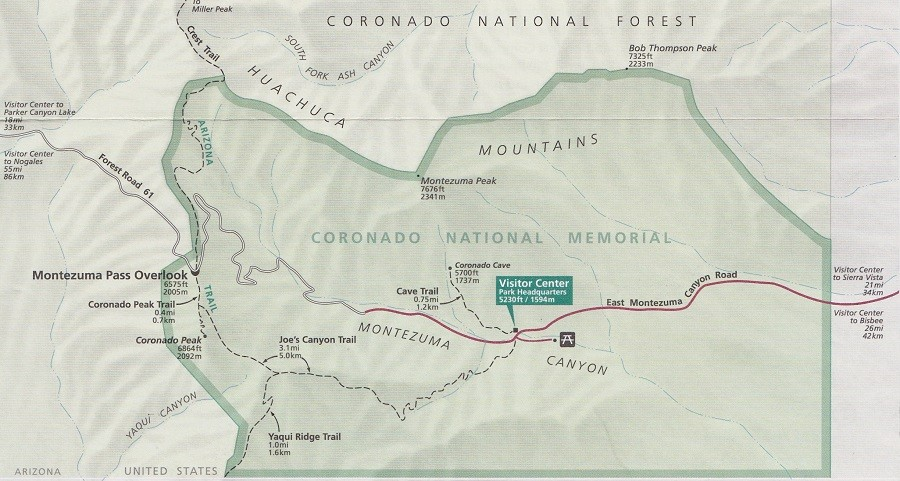 Coronado National Momorial Map