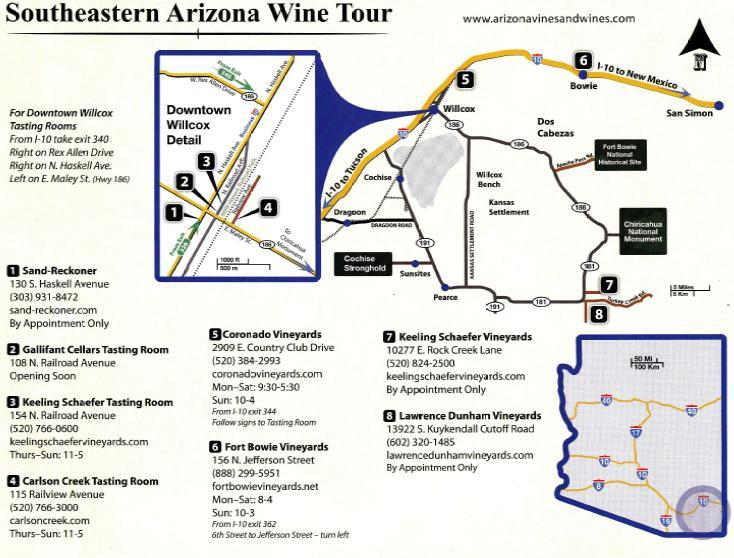 Willcox area winery Map